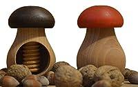 wooden world - set di 2 schiaccianoci a forma di fungo, in legno di faggio naturale molto solido, colori marrone e rosso