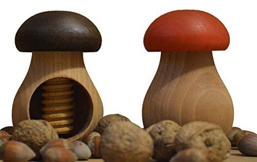 Wooden World Nussknacker-Set, braun und rot, aus natürlichem Buchenholz - sehr massiver Pilz, 2 Stück