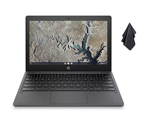 2021 Newest HP Chromebook 11.6 Inch HD Laptop, MediaTek MT8183 8-core Processor, 4GB RAM, 32GB eMMC SSD, WiFi, Bluetooth, Webcam, Ash Gray, Chrome OS + Oydisen Cloth