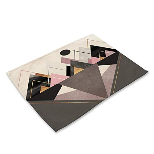 huashangbaihuodian 4 stücke Bunte geometrische gedruckt küche tischset esstisch Matte Bahn Baumwolle leinen Pads Tasse matten wohnkultur, w, k
