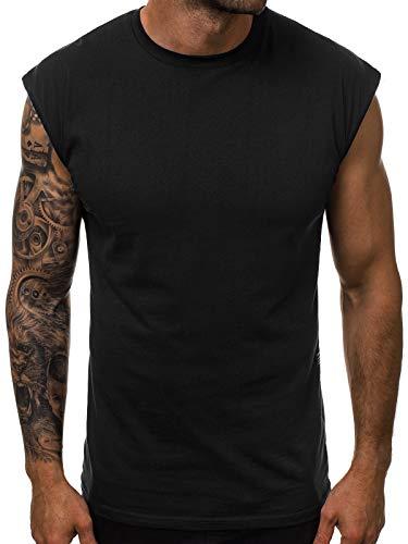 OZONEE Herren Tank Top Tanktop Tankshirt Ärmellos Bodybuilding Shirt Unterhemd T-Shirt Tshirt Tee Muskelshirt Achselshirt Trägershirt Ärmellose Training Sport Fitness O/1265 SCHWARZ XL