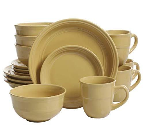 Mainstays 16-Piece Round Dinnerware Set, Yellow