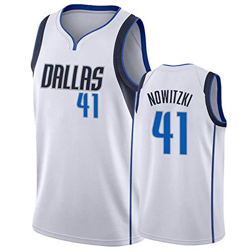 BBMB Mavericks Nowitzki # 41 Hombres Fans Baloncesto Retro Color Bordado 100% Tejido de poliéster Ropa de Entrenamiento de Movimiento-White-L