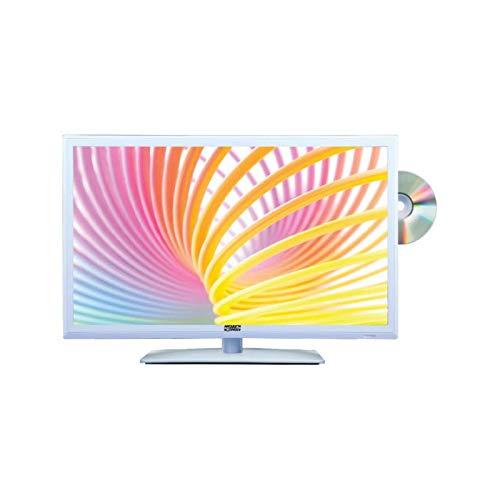 ANTARION TV LED Blanc 15,6' 41cm Télévision HD TNT Camping 12V DVD intégré