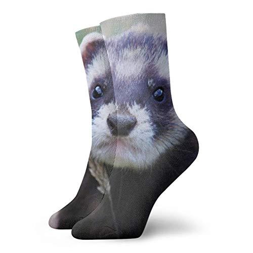 BJAMAJ Calcetines unisex hurón hierba bozal mirar hacia fuera interesante poliéster Crew calcetines adultos calcetines de algodón