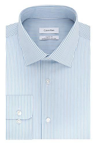 Calvin Klein Men's Dress Shirt Regular Fit Non Iron Stretch Stripe, Light Blue, 17.5' Neck 34'-35' Sleeve (X-Large)