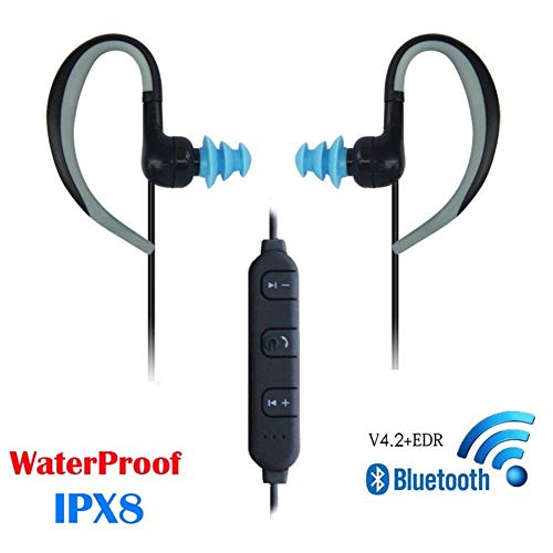 3M Waterproof Wireless Bluetooth Earphones, Swimming Headphone Around Neck HD Stereo in Ear Earbuds with Mic Noise Cancelling Headsets