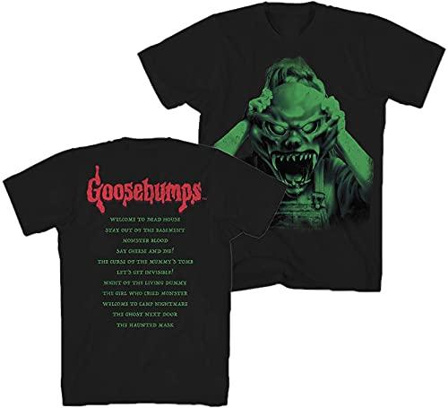 Goosebumps Mens Horror Mask Shirt Book List Front and Back Mens...