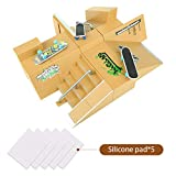 TIME4DEALS Finger Skateboard Park 8Pcs Fingerboard Ramp Skate Park Kit Part Mini Fingerboard Rail for Finger Board Training Skateboard Toy Starter Kit with 6 Deck 3 Fingerboard and 5 Silicone Mat Set