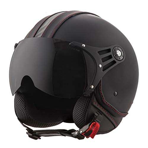 Street Jet Fahrrad Retro Motorrad Halbhelme Adult Vintage 3/4 Open Face Helm für...