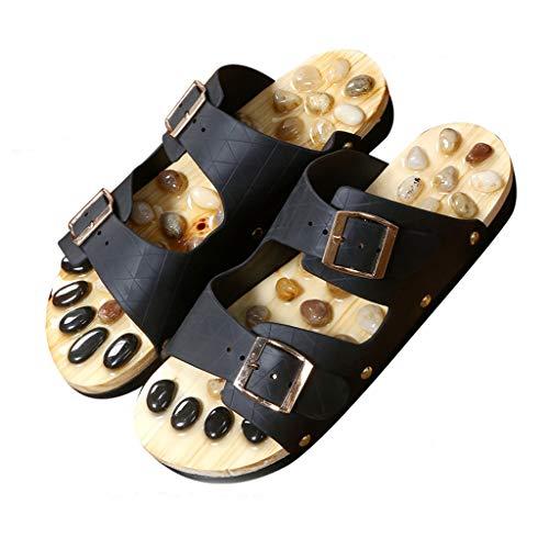 LALAWO Masaje de pies Zapatillas, Zapatillas Piedras Naturales, Cuidado de los pies masajeador Sandalias Inicio Zapatillas Promover la circulación sanguínea for Hombres y Mujeres