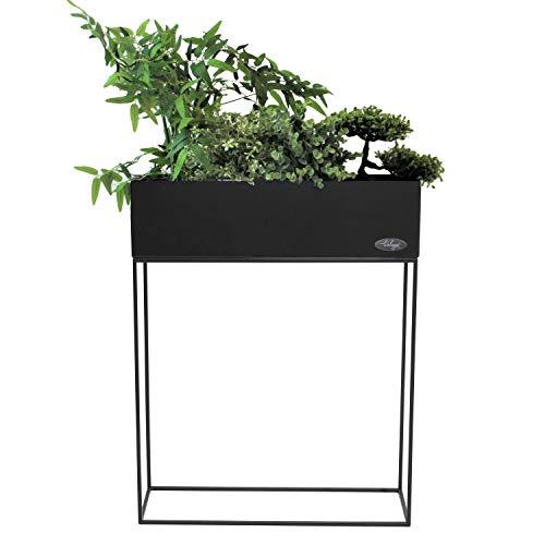 Pflanzkasten Blumenständer, Metall beschichtet, 55x20xH70cm, Schwarz, Blumenkasten Pflanzenkasten Hochbeet Balkonkasten