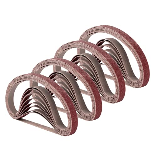 1/2 Inch x 18 Inch Sanding Belts, 4 Each of 60/80/120/180/240 Grits, Belt Sander Tool for Woodworking, Metal Polishing, 20 Pack Aluminum Oxide Sanding Belt
