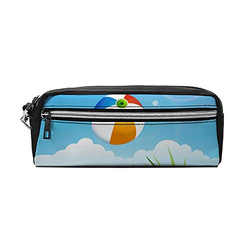 Zomer Strand Vliegende Bal Palm Boom en Zon Paraplu's PU Lederen Potlood Case Make-up Bag Cosmetische Tas Potlood Pouch met Rits Reizen Toilettas voor Vrouwen Meisjes