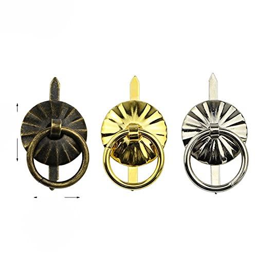 Vintage Bronce Hierro Mango Joyas Vino Caja de regalo Manija Tirador Caja de madera Perilla Anillo redondo Cajón Cocina Tiradores pequeños Plata Oro-Bronce