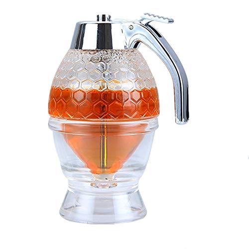 PROBEEALLYU Dispensador de miel, jarabe de jugo y miel, botella de exprimir, tarro de miel, contenedor de almacenamiento con soporte para gatillo, herramienta para hornear sin goteo, 200 ml