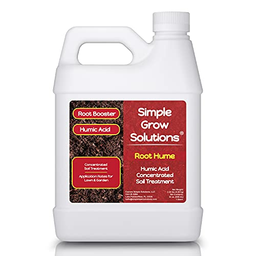 Root Hume- Simple Grow Solutions - Concentrated Humic Acid - Liquid Carbon - Simple Grow Solutions- Natural Lawn & Garden Treatment - Plant Food Enhancer- Turf Grass Soil Conditioner (32 Ounce)