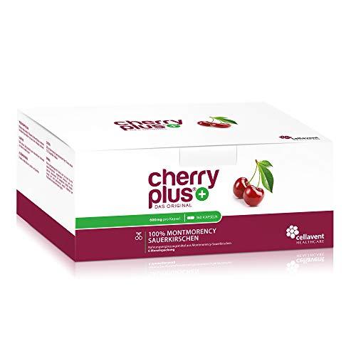 Cherry PLUS Kapseln aus der Montmorency-Sauerkirsche (600mg) – 50:1 Konzentration – 360 Kapseln – GMP und IFS – vegan