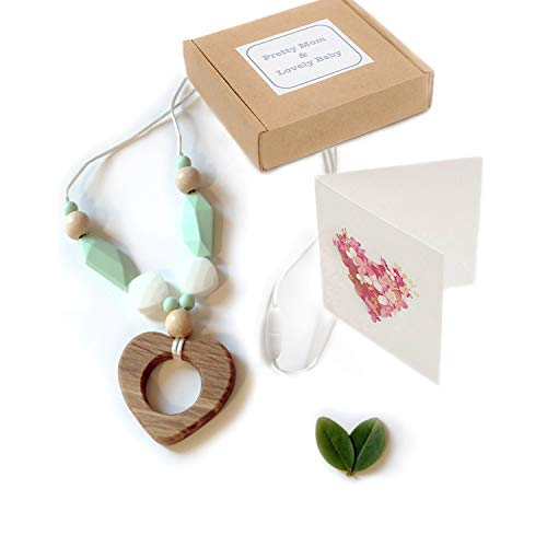 'Eiken Hart' Siliconen Tandjes Ketting, Teething Necklace, Gift Box & Greeting Card; Natural Wood Oak Pendant and Silicone Beads Jewellery
