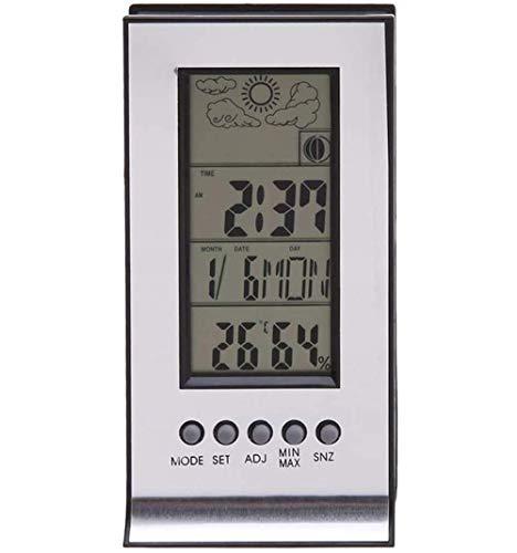 WYZQ Estación meteorológica inalámbrica con sensores inalámbricos Estación de medición Termómetro Higrómetro Reloj Despertador Calendario Registros de Temperatura, Relojes