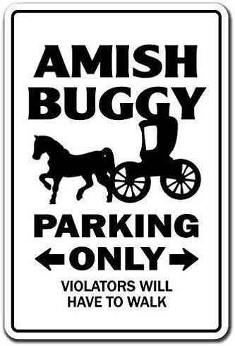 PotteLove Amish Buggy Parking Sign Horse Carriage Religious Mennonite Church Aluminum Metal Sign Tin Plaque 12