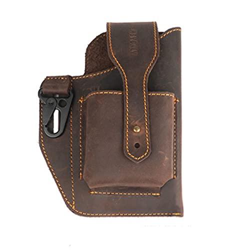 PING primera capa de cuero de vaca cinturón bolsa de teléfono titular de la cintura de cuero personalizado cinturón cubierta anti-perdida con llavero café/marrón, Cf-1,