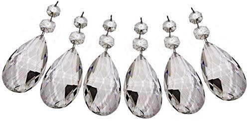 SEEAR 6 stuks kroonluchter-decoraties van helder glas met prismaeffect voor bruiloft