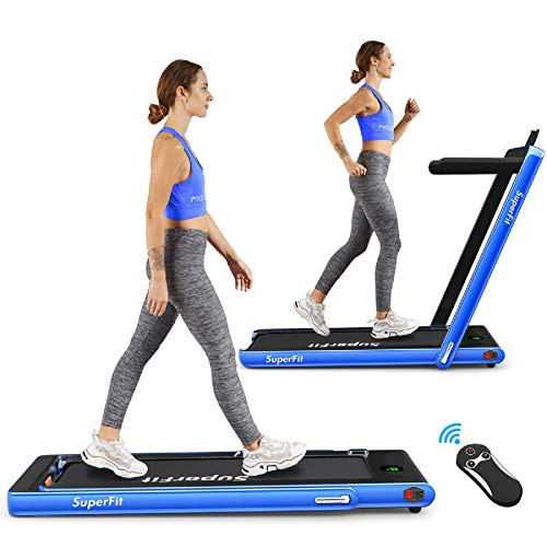Goplus 2 in 1 Folding Treadmill, 2.25HP Under Desk Electric Treadmill, Installation-Free, with Bluetooth Speaker, Remote Control and LED Display, Walking Jogging Machine for Home/Office Use (Blue) (Best Treadmill Brands In India)