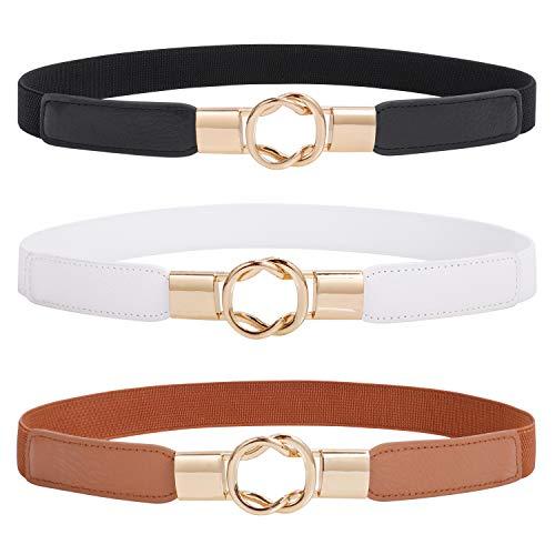 "Fashion Skinny Dress Belt for Women for Jeans,Elastic Thin Waist Belt Stretch for Dress,Gold Buckle Retro Stretch Ladies Thin Waist Belt,Waistband Skinny Belt,Black+White+Brown,3 Pack,Suit 34""-43"""