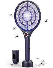 Flashvin Elektrische muggenslager, 4000 V, draadloos opladen, uv-lamp tegen muggen, bescherming, 3 lagen
