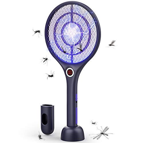 FLASHVIN 3 in 1 Elektrische Fliegenklatsche 4000V extra Stark Insekten Zapper Moskitoschutz Insektenvernichter Mückenklatsche Kabellos Aufgeladen Akku mit UV/LED Licht Doppelte Schichten Schutz