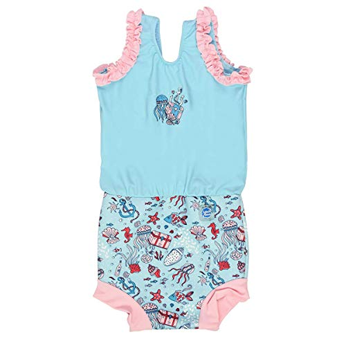 Splash About Baby Girls Costume Happy Nappy Badeanzug mit Schwimmwindel, Hidden Treasure, 12-24 Monate