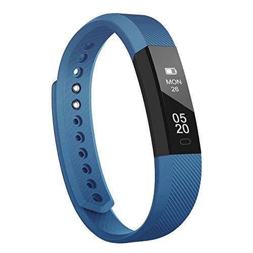 Lintelek Pulsera Actividad, Reloj Inteligente con Medidor de Ritmo Cardíaco Presión Arterial, Reloj Deportivo Compatible a Android y iOS para Hombre Mujer Niño (Azul Nuevo)