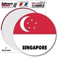 WFS-018 SINGAPORE シンガポール 国旗ステッカー サークル スーツケースステッカー