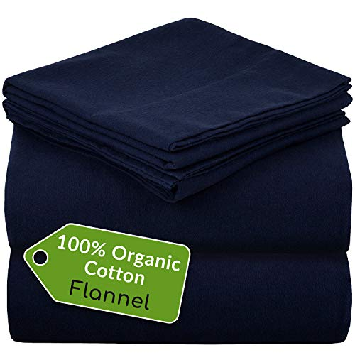 Mellanni 100% Organic Cotton Flannel Sheet Set - Heavyweight 180GSM 4 pc Luxury Bed Sheets - Cozy, Soft, Warm, Breathable Bedding - Deep Pockets - All Around Elastic (King, Navy)