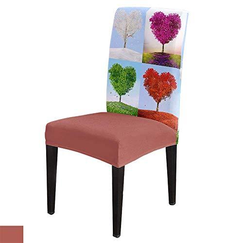 Fundas protectoras para sillas de comedor de San Valentín, diseño de árbol de corazón, con forma de corazón y amor, de elastano, extraíbles, fundas protectoras de asiento para cuatro estaciones