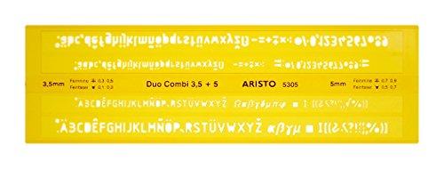 Aristo Schriftschablone Duo-Kombi gerade Mittelschrift (Schriftgröße 3,0 mm und 5,0 mm, formstabiler PET-Kunststoff) orange-transparent