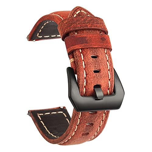 YQSBYI Correa de Cuero de 20 mm 22 mm, Elegante y Simple, para reemplazo de Correa de Reloj Inteligente.Correa de Reloj (Band Color : Red Black, Band Width : 20mm)