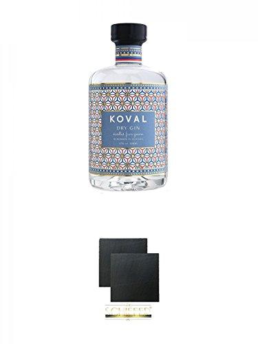 Koval DRY GIN 47% 0,5 Liter + Schiefer Glasuntersetzer eckig ca. 9,5 cm Ø 2 Stück