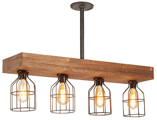 Farmhouse Lighting Triple Wood Beam Vintage Decor Chandelier –Great Industrial Chic Light for Kitchen, Bar, Island, Dining Room, and Foyer – Four Lights and Vintage Edison Cages