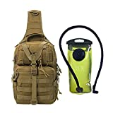 J.CARP Tactical EDC Sling Bag Pack, Military Rover Shoulder Molle Backpack, with 2L Hydration Pouch, Coyote