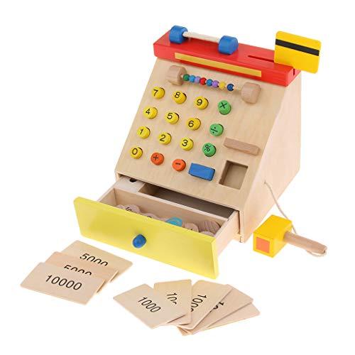 F Fityle Registratore di Cassa Giocattolo in Legno con Scanner per Bambini - Ruolo del Cassiere Giochi di Finta Cassa Giochi di Apprendimento Aritmetico