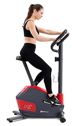 Hop-Sport Heimtrainer Fahrrad HS-035H Leaf - Fitnessbike für Zuhause mit Pulssensoren und Computer, Magnetbremse, Schwungmasse 8 kg - Ergometer für EIN max. Nutzergewicht von 135kg Rot