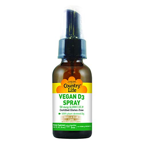 Country Life Vegan Vitamin D3 Spray - 2000 IU - Vanilla Bean - Deficiency - Immune Health - Healthy Teeth and Bones - Great Tasting - Convenient - Great for on The Go