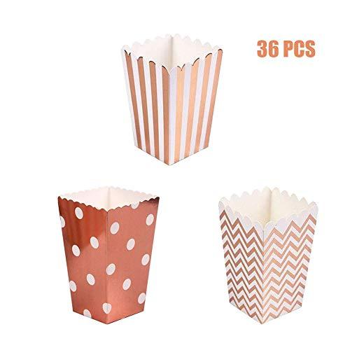 MAKFORT Popcorn Boxen Paper Party Snacks süßigkeiten Box Candy Container Behälter Karton Roségold Gold Popcorn Tüten 36 Stück