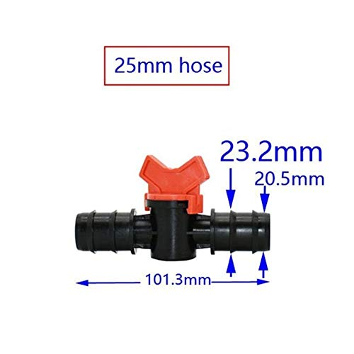 NLJYSH Durable 1/2 3/4 1pcs Manguera de jardín válvula de Agua de riego Tap 16 mm 20 mm 25 mm Manguera de jardín Waterstop Conector Grúas Simple y Generoso (Color : 25mm Hose)