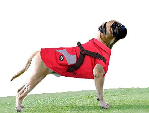 Babydog Ropa para Perros Mascotas, Abrigos Chaquetas de Invierno Suave,Chaleco arnés de Perro Traje de Suéter con Bolsillos (8L, Rojo)