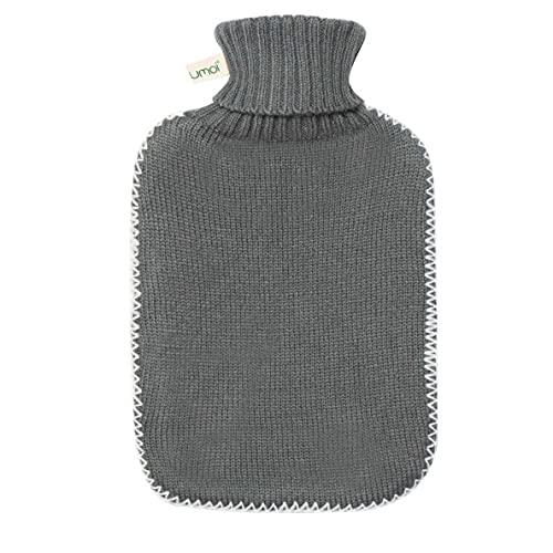 Premium varmvattenflaska med lock, 1,8 liter med fint stickat skydd och vita sömmar, BS1970: 2012 certifierad – ny modell – TÜV-testad (mörkgrå)