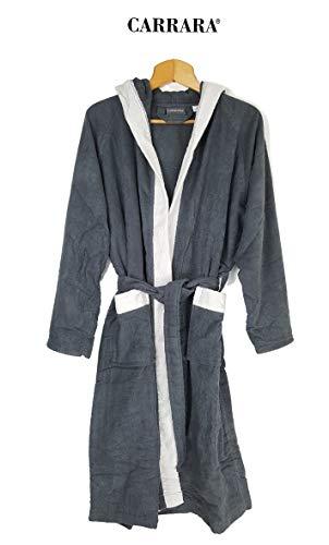 Carrara Bademantel für Damen mit Kapuze aus Reiner Baumwolle (grau Größe XXL)