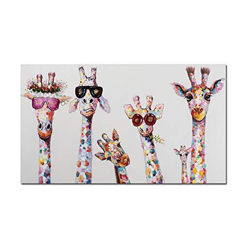 """NIEMENGZHEN Toile Peinture Graffiti Art Animal Curieux Girafes Famille Affiche Imprime Image Décorative Oeuvre Graphique pour la Chambre d'enfants Décor 23.6""""x47.2 (60x120 cm) sans Cadre"""